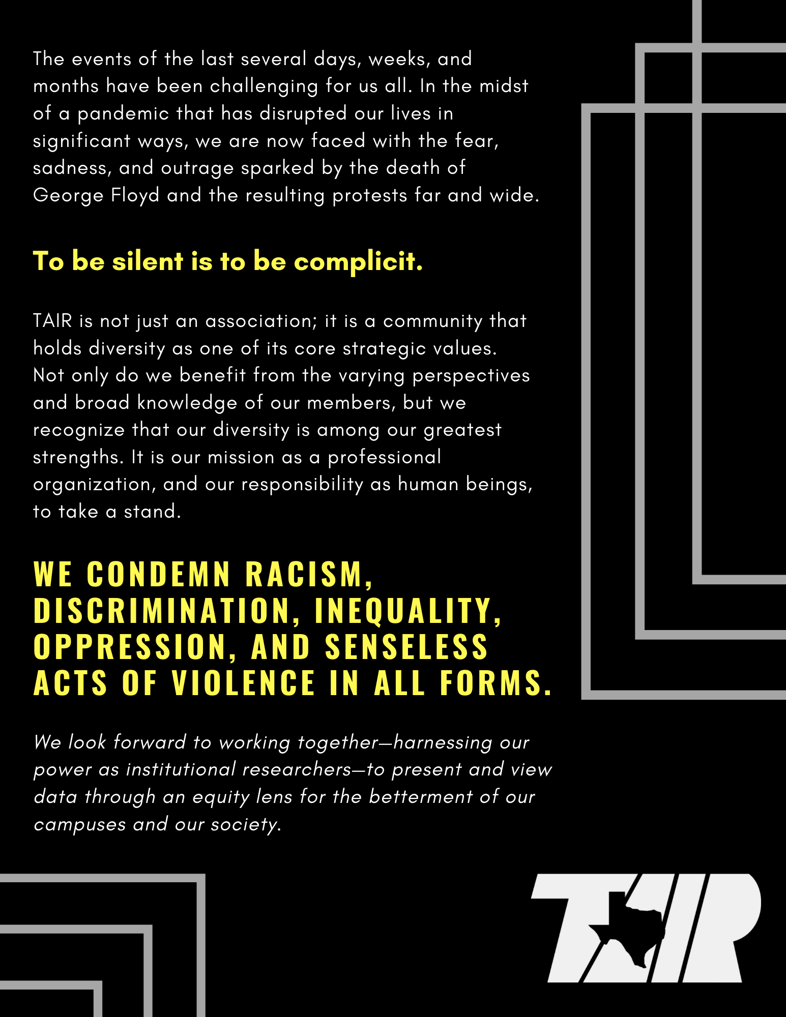 TAIR Statement on Diversity
